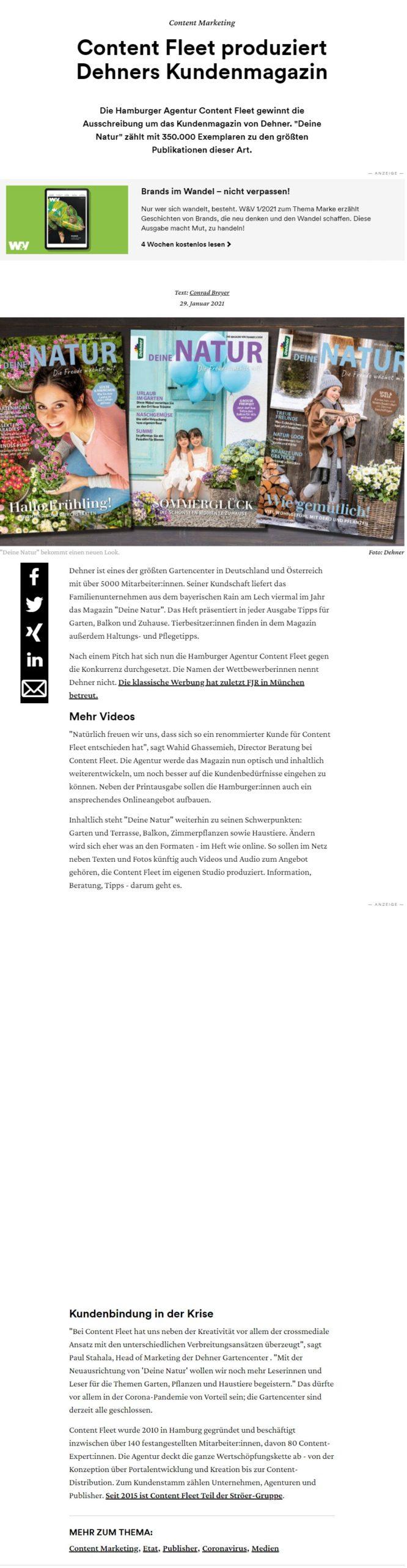 Content Fleet produziert zukünftig das Dehner Kundenmagazin. W&V berichtet darüber.