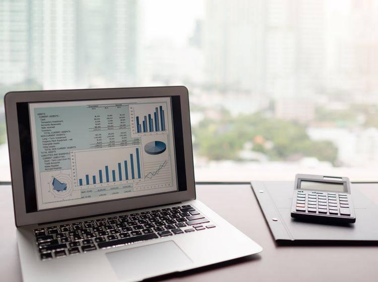 Arbeitsplatz mit geöffneten Laptop auf dem man eine Grafik sieht