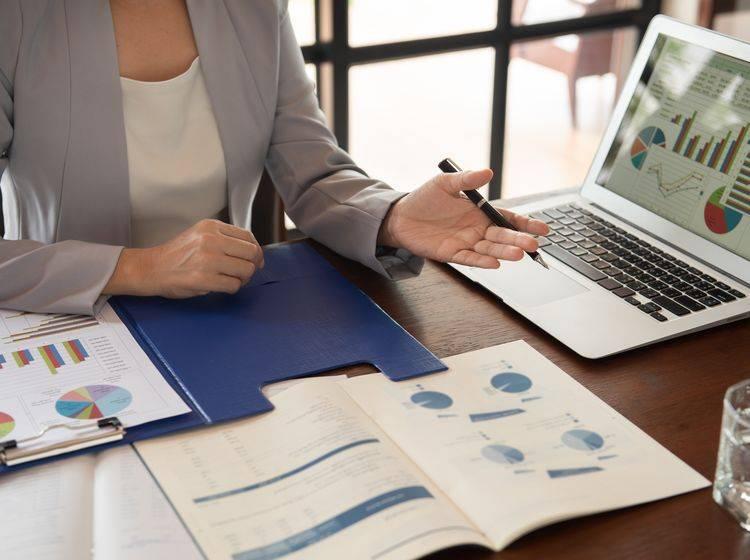 Geschäftsfrau erklärt Grafiken in einem Meeting