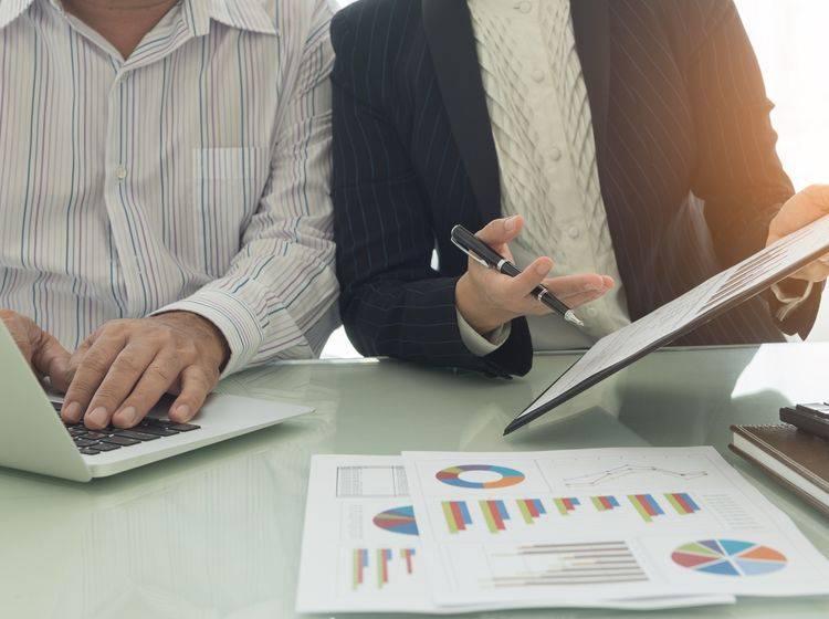 Geschäftsleute sitzen am Tisch und besprechen verschiedene Grafiken