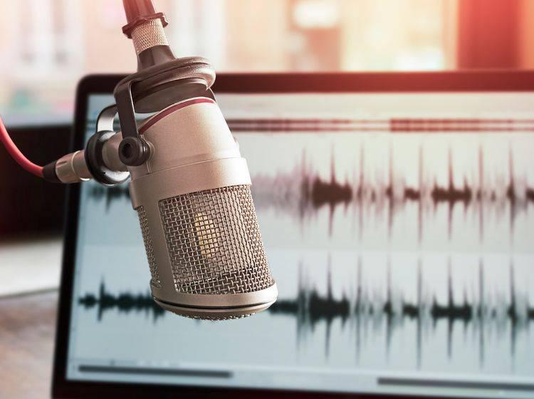 Mikrofon vor einem Laptop mit Audio Grafik