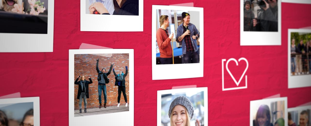 Content Fleet Mitarbeiterfotos auf Wand