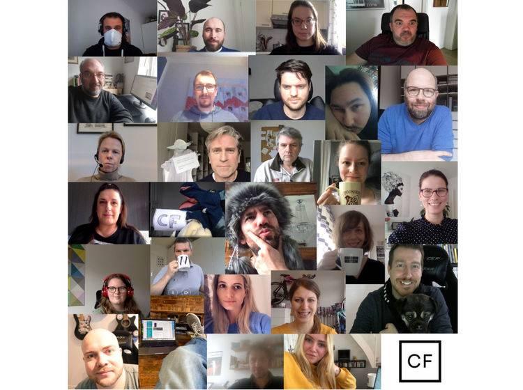 Collage von Content Fleet Mitarbeitern im Homeoffice